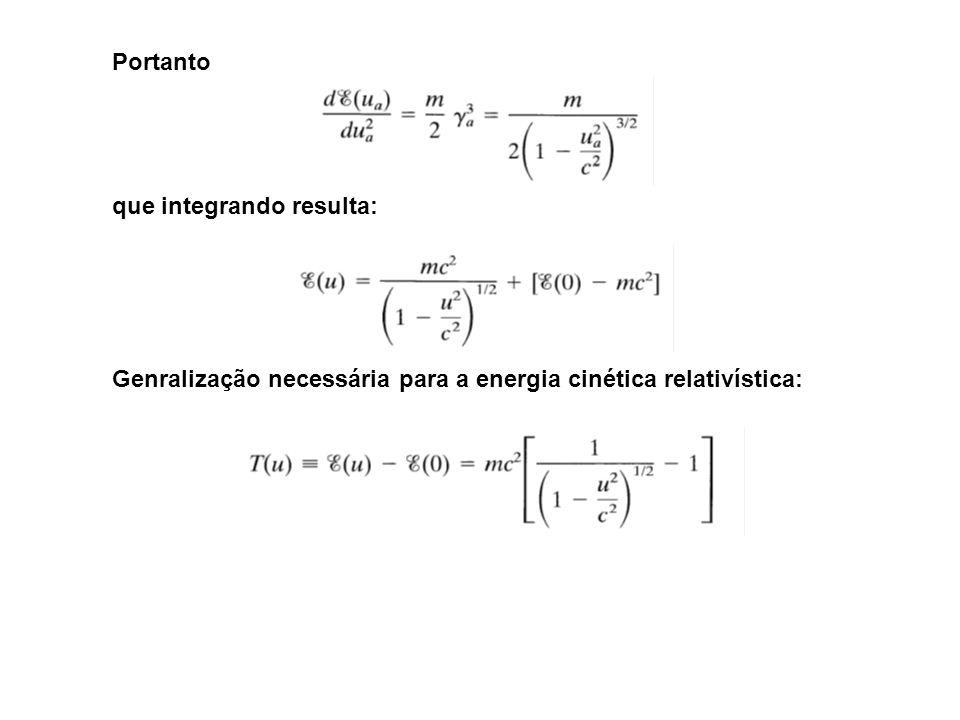 Portanto que integrando resulta: Genralização necessária para a energia cinética relativística: