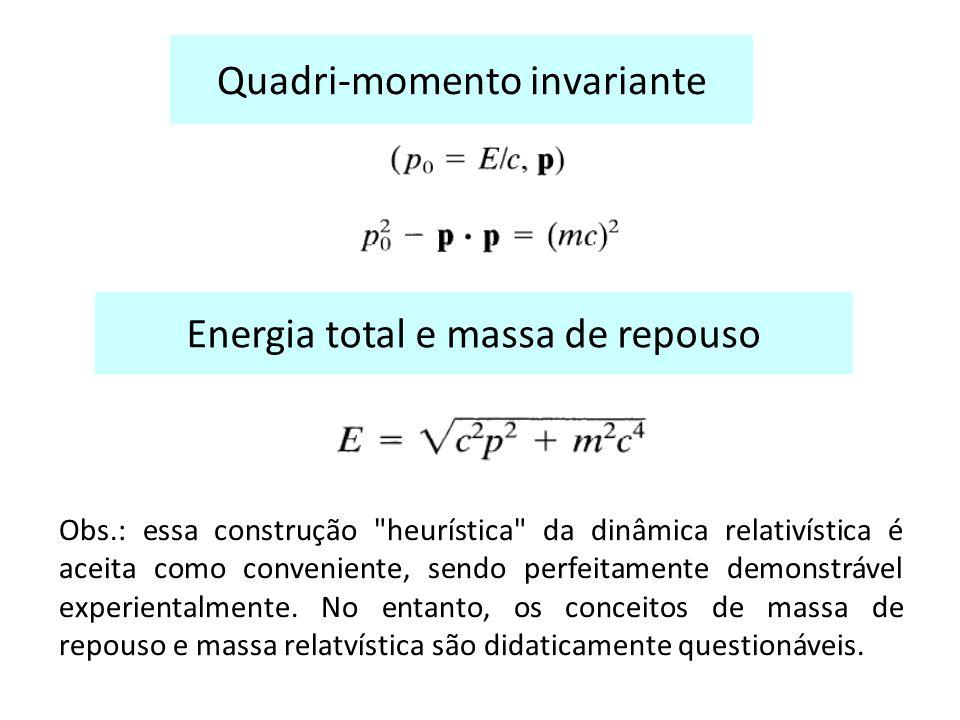 Quadri-momento invariante Energia total e massa de repouso Obs.: essa construção heurística da dinâmica relativística é aceita como conveniente, sendo perfeitamente demonstrável experientalmente.