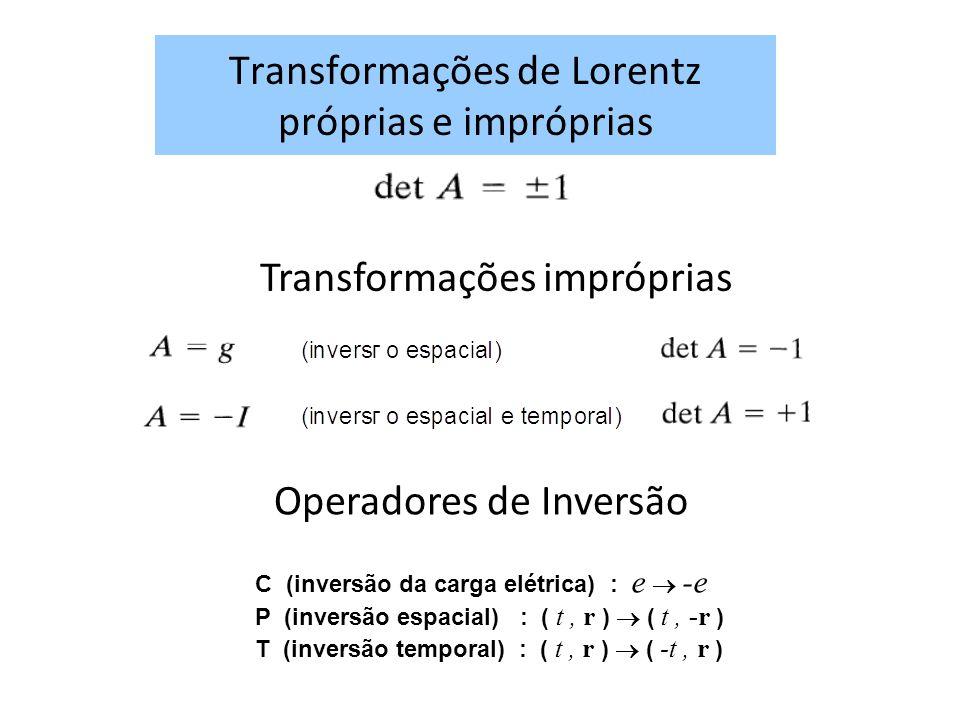 Transformações de Lorentz próprias e impróprias Transformações impróprias Operadores de Inversão C (inversão da carga elétrica) : e -e P (inversão espacial) : ( t, r ) ( t, -r ) T (inversão temporal) : ( t, r ) ( -t, r )