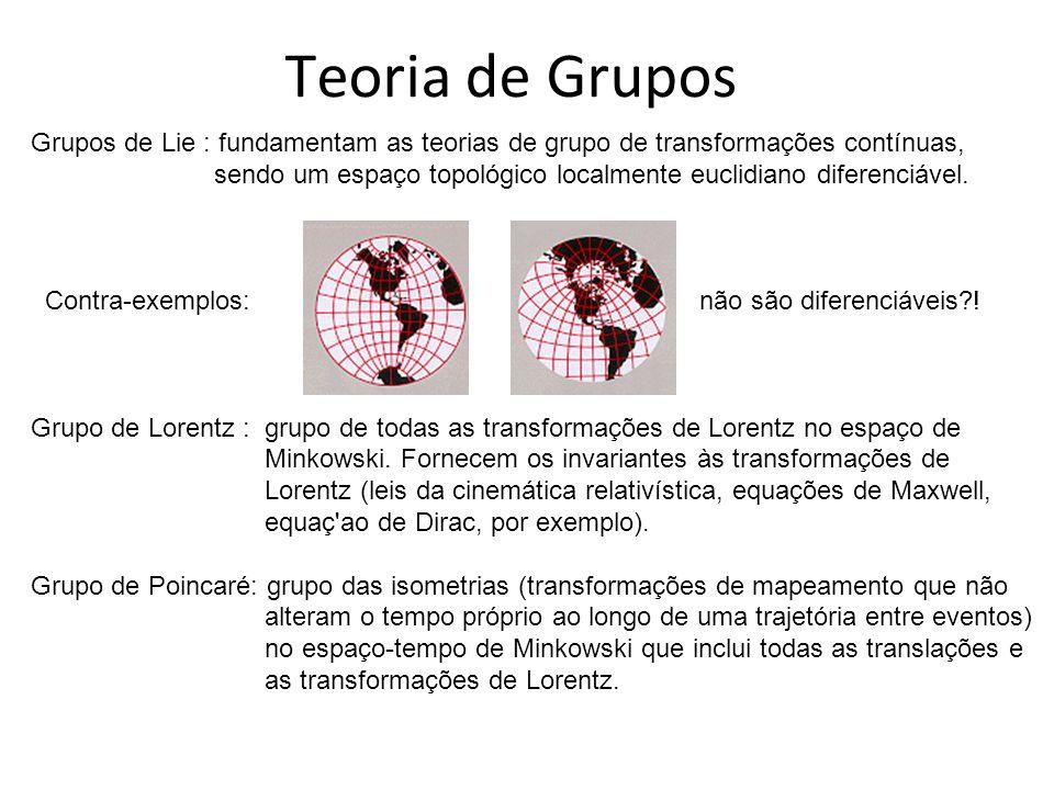 Teoria de Grupos Grupos de Lie : fundamentam as teorias de grupo de transformações contínuas, sendo um espaço topológico localmente euclidiano diferenciável.