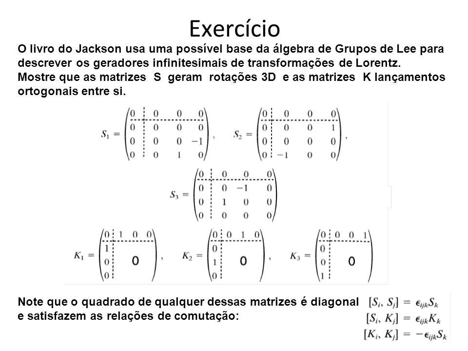 Exercício O livro do Jackson usa uma possível base da álgebra de Grupos de Lee para descrever os geradores infinitesimais de transformações de Lorentz.
