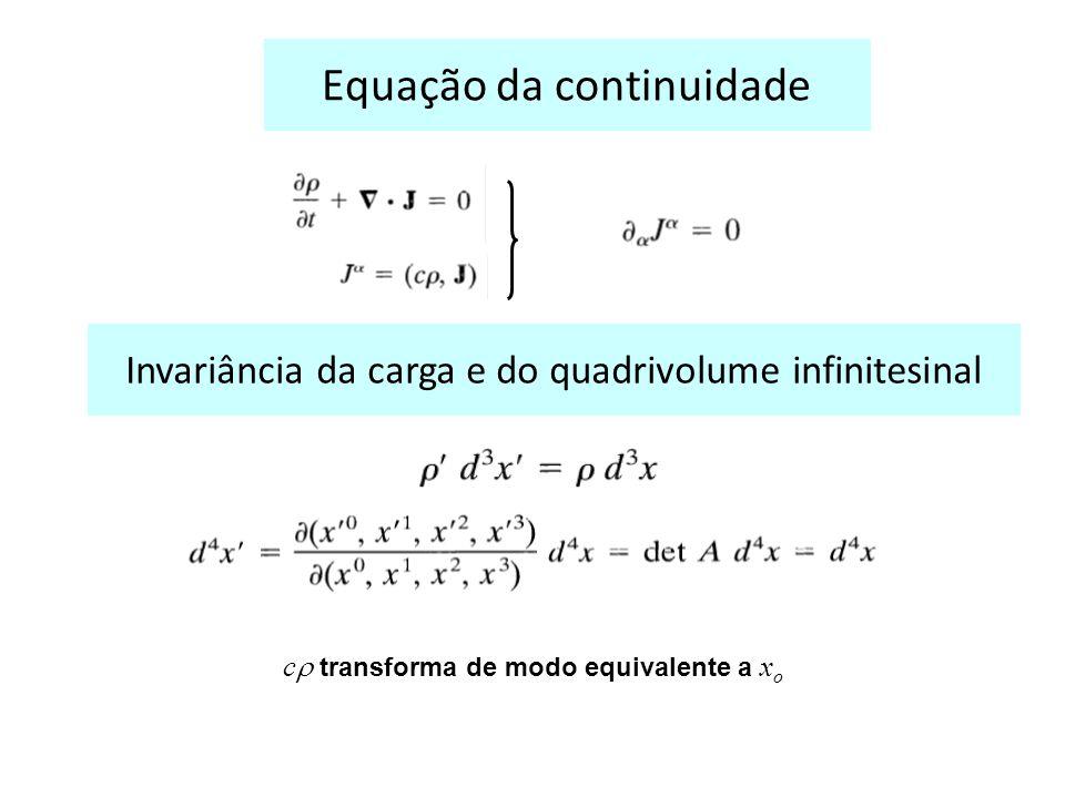 Equação da continuidade Invariância da carga e do quadrivolume infinitesinal c transforma de modo equivalente a x o