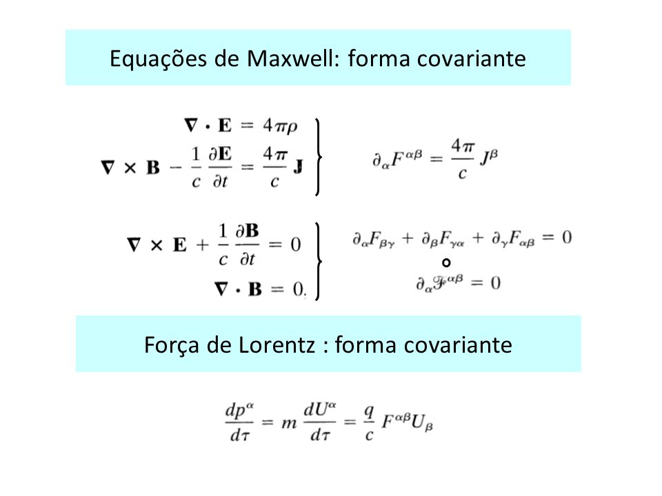 Equações de Maxwell: forma covariante ouou Força de Lorentz : forma covariante