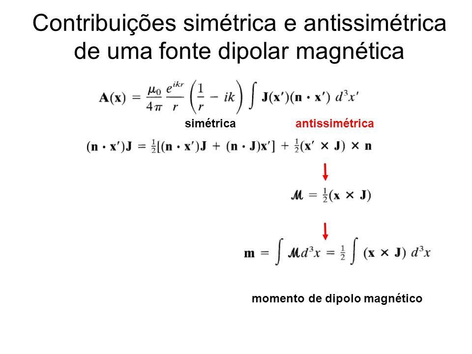 Contribuições simétrica e antissimétrica de uma fonte dipolar magnética simétrica antissimétrica momento de dipolo magnético