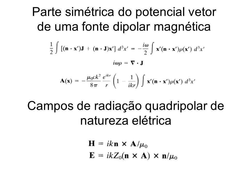 Parte simétrica do potencial vetor de uma fonte dipolar magnética Campos de radiação quadripolar de natureza elétrica