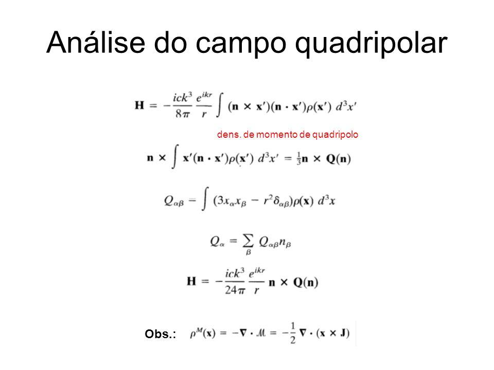 dens. de momento de quadripolo Análise do campo quadripolar Obs.: