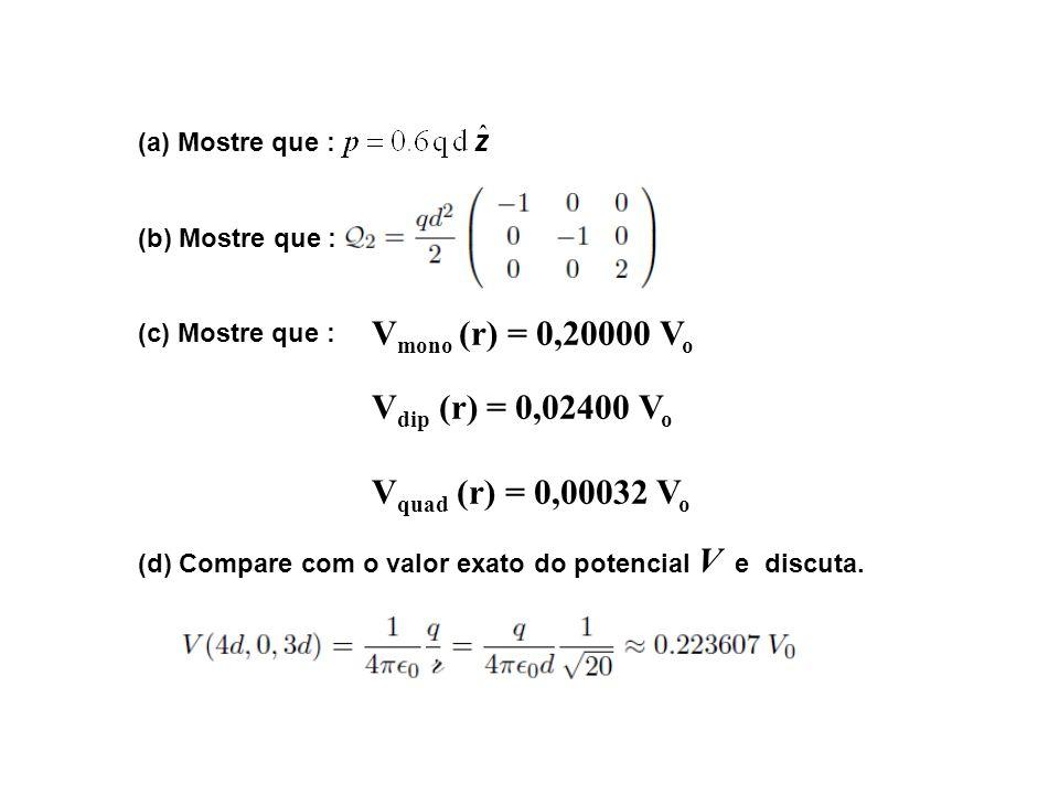 (a) Mostre que : (b) Mostre que : (c) Mostre que : (d) Compare com o valor exato do potencial V e discuta. V mono (r) = 0,20000 V o V dip (r) = 0,0240
