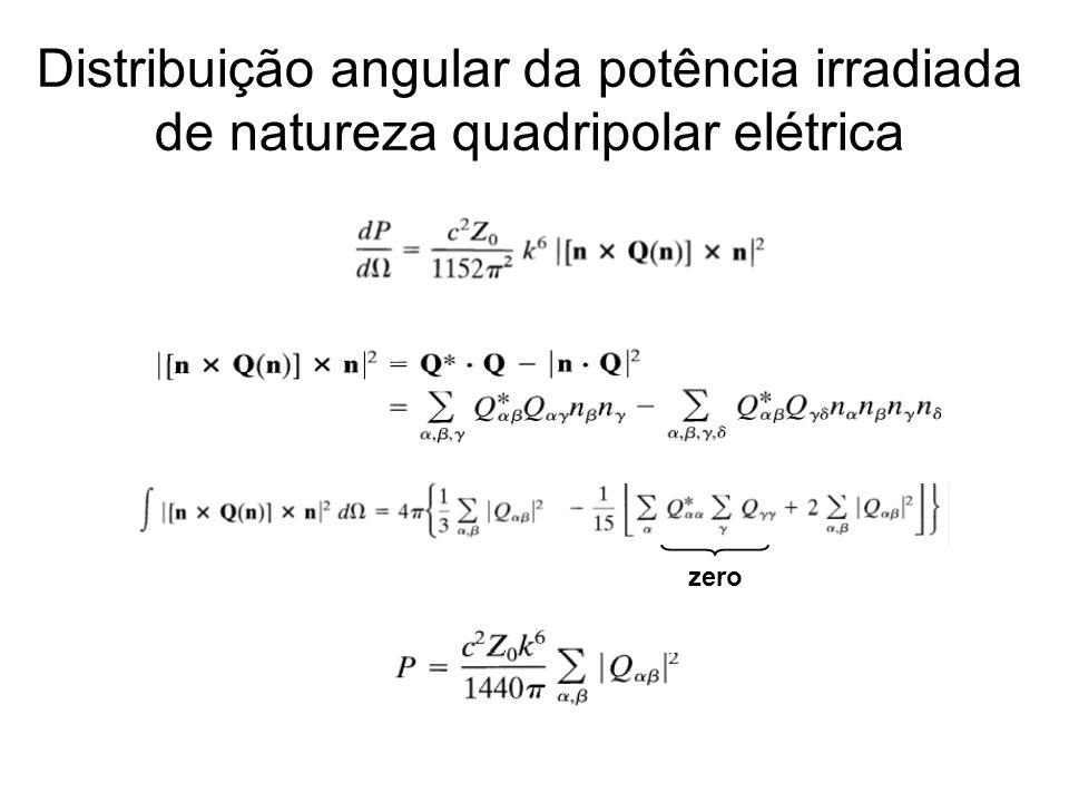 Distribuição angular da potência irradiada de natureza quadripolar elétrica zero