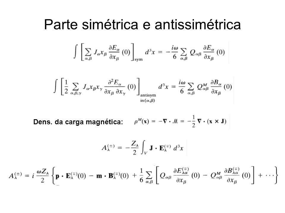 Parte simétrica e antissimétrica Dens. da carga magnética:
