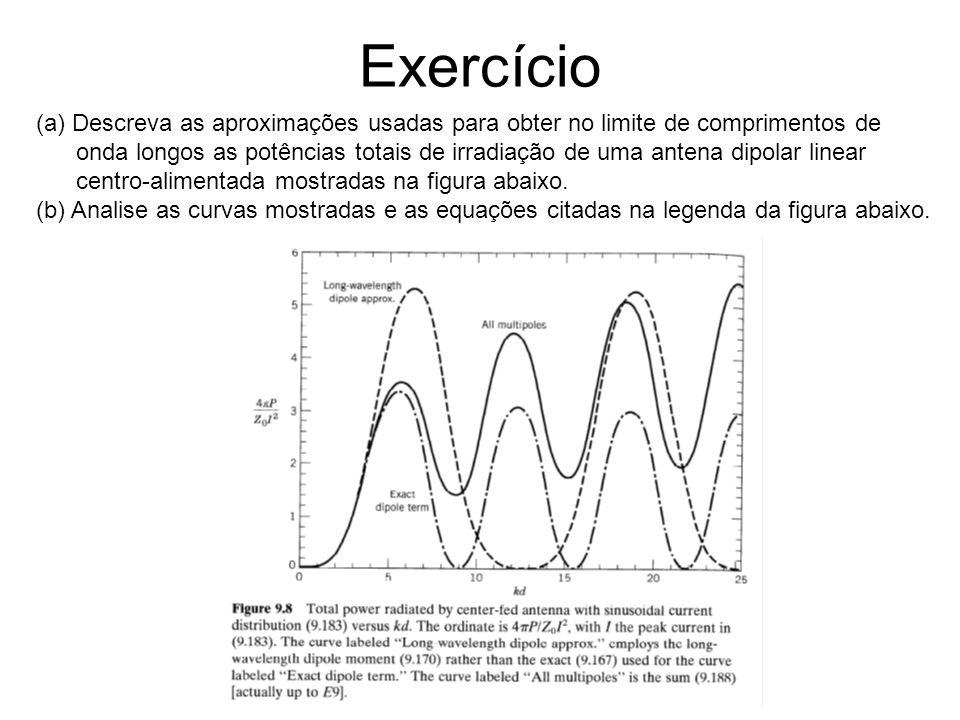 Exercício (a) Descreva as aproximações usadas para obter no limite de comprimentos de onda longos as potências totais de irradiação de uma antena dipo
