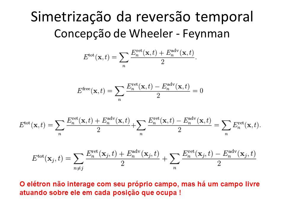 Simetrização da reversão temporal Concepção de Wheeler - Feynman O elétron não interage com seu próprio campo, mas há um campo livre atuando sobre ele