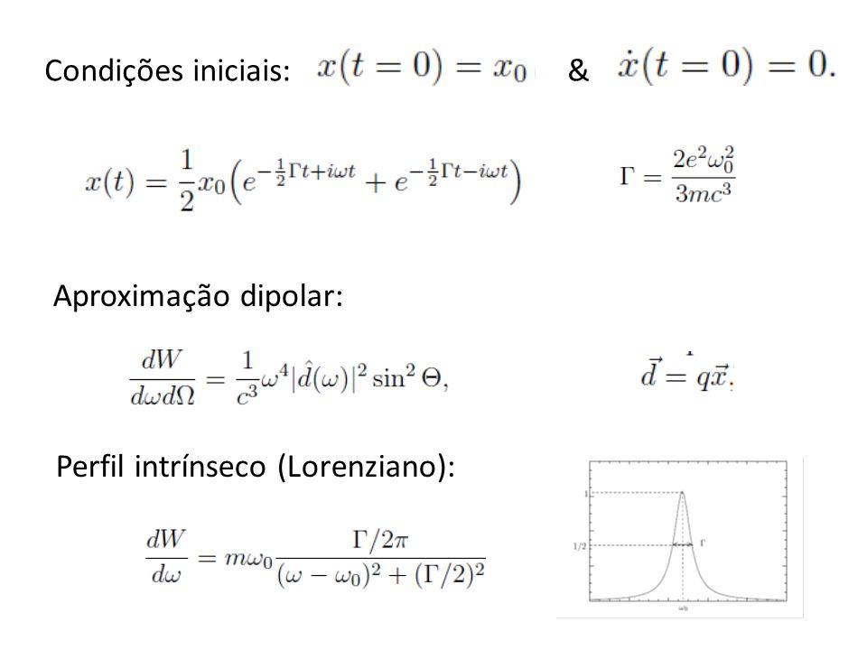 Condições iniciais: & Aproximação dipolar: Perfil intrínseco (Lorenziano):