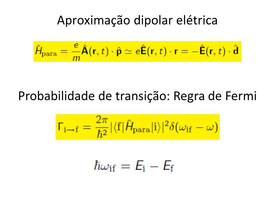 Aproximação dipolar elétrica Probabilidade de transição: Regra de Fermi