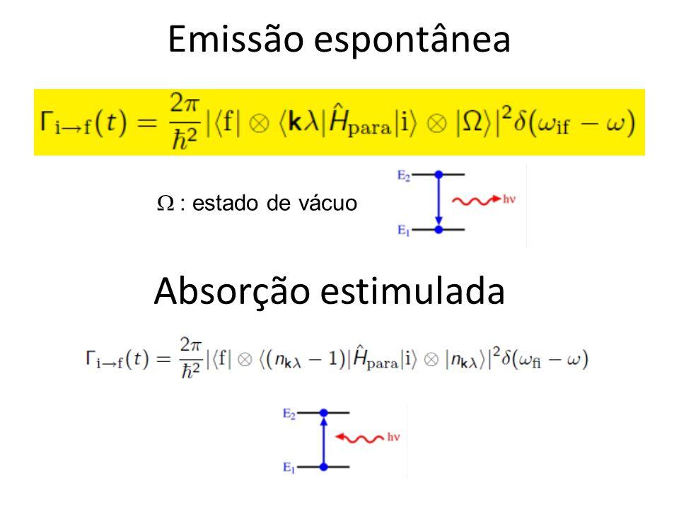 Emissão espontânea : estado de vácuo Absorção estimulada