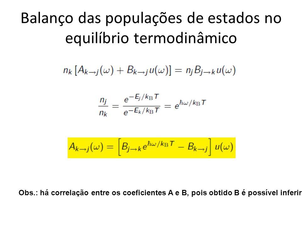 Balanço das populações de estados no equilíbrio termodinâmico Obs.: há correlação entre os coeficientes A e B, pois obtido B é possível inferir A.