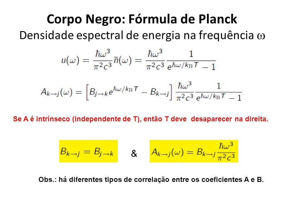 Corpo Negro: Fórmula de Planck Densidade espectral de energia na frequência Se A é intrínseco (independente de T), então T deve desaparecer na direita