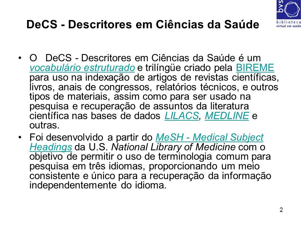 3 Decs: Como acessar Digite: www.bireme.br Clique em Decswww.bireme.br
