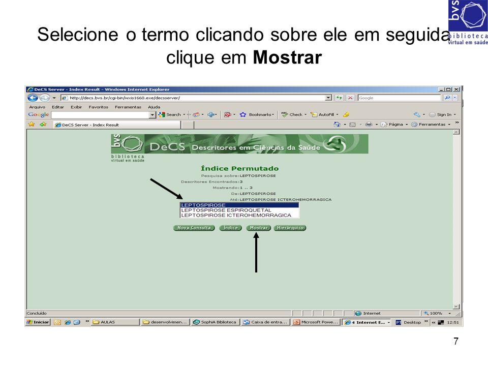 8 Resultado da busca 1 - Termos ou descritores em português, inglês e espanhol.