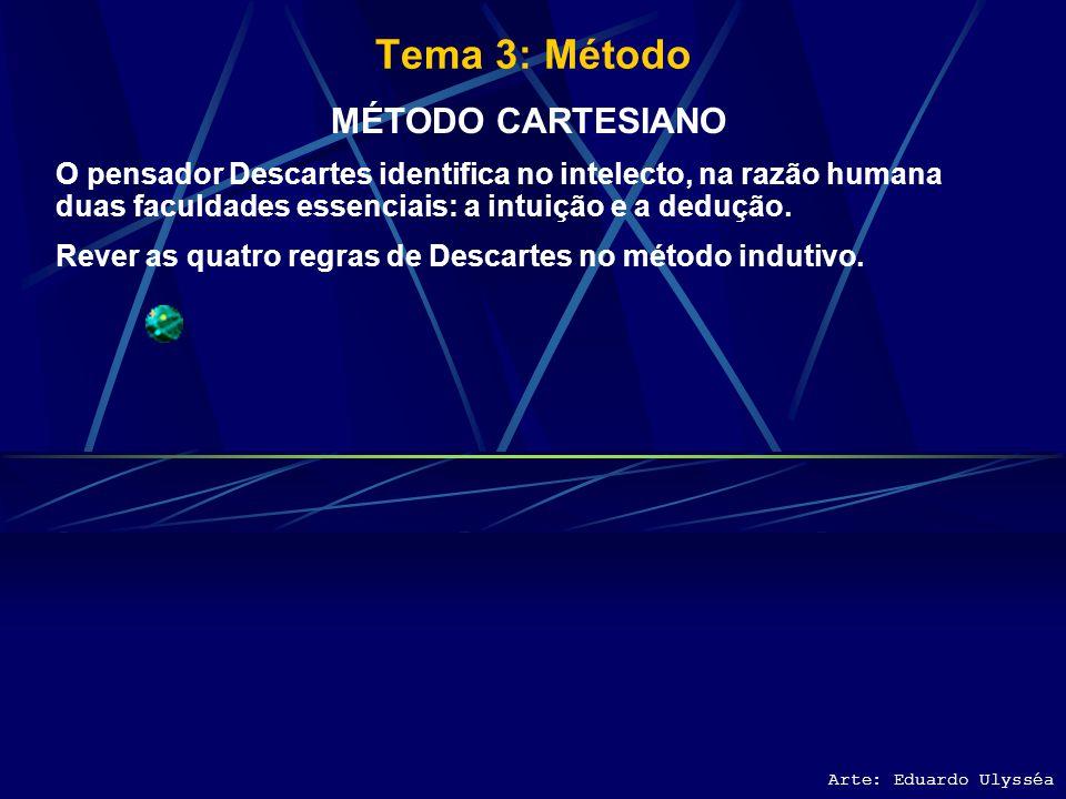 Tema 3: Método Arte: Eduardo Ulysséa MÉTODO DEDUTIVO Procura transformar enunciados complexos, universais, em particulares. Fazem parte da ciência ded