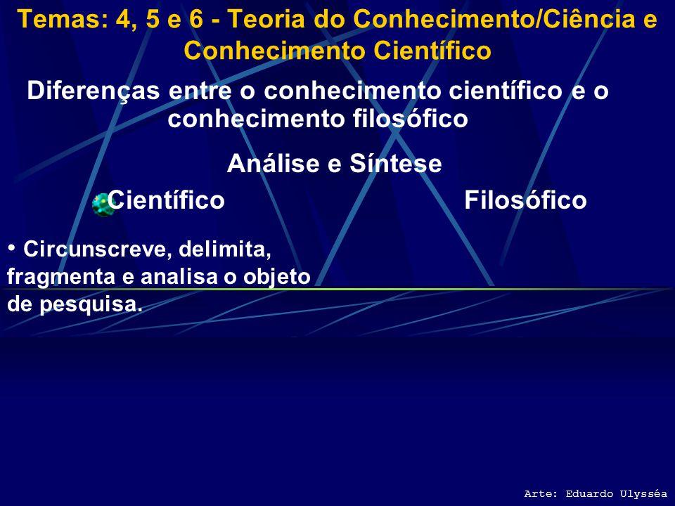 Arte: Eduardo Ulysséa Diferenças entre o conhecimento científico e o conhecimento filosófico Científico É experimental; a ciência só afirma o que a ex