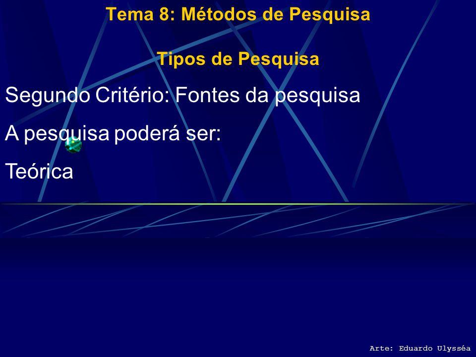 Arte: Eduardo Ulysséa Tema 8: Métodos de Pesquisa Tipos de Pesquisa Primeiro Critério: Fins da Pesquisa A pesquisa poderá ser: Pesquisa aplicada – fin
