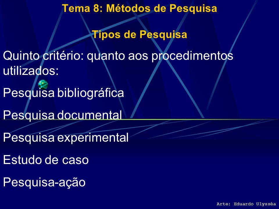 Arte: Eduardo Ulysséa Tema 8: Métodos de Pesquisa Tipos de Pesquisa Quarto critério: em relação aos objetivos Se classifica em: Pesquisa documental Pe