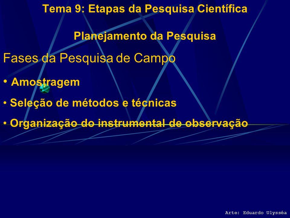 Arte: Eduardo Ulysséa Tema 9: Etapas da Pesquisa Científica Planejamento da Pesquisa Fases da Pesquisa de Campo Amostragem Seleção de métodos e técnic