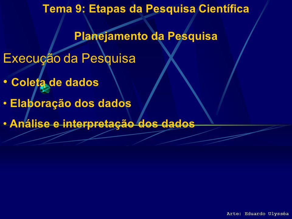 Arte: Eduardo Ulysséa Tema 9: Etapas da Pesquisa Científica Planejamento da Pesquisa Execução da Pesquisa Coleta de dados Elaboração dos dados