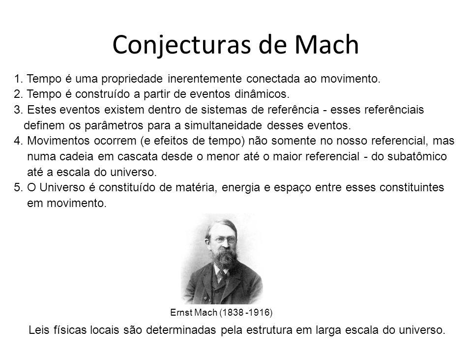 Conjecturas de Mach 1. Tempo é uma propriedade inerentemente conectada ao movimento. 2. Tempo é construído a partir de eventos dinâmicos. 3. Estes eve