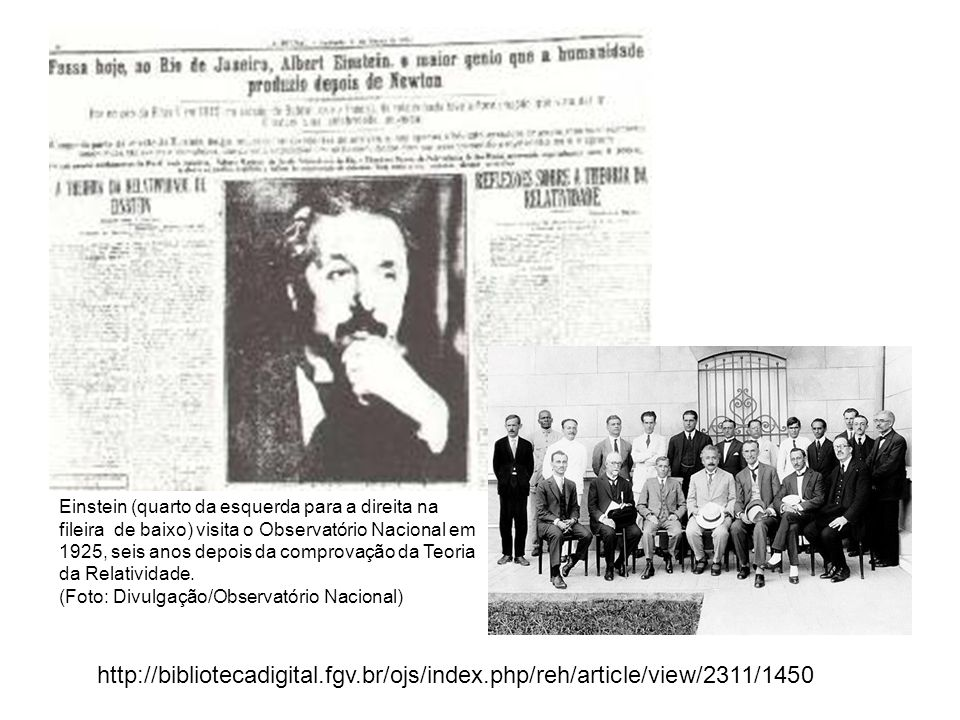Einstein (quarto da esquerda para a direita na fileira de baixo) visita o Observatório Nacional em 1925, seis anos depois da comprovação da Teoria da