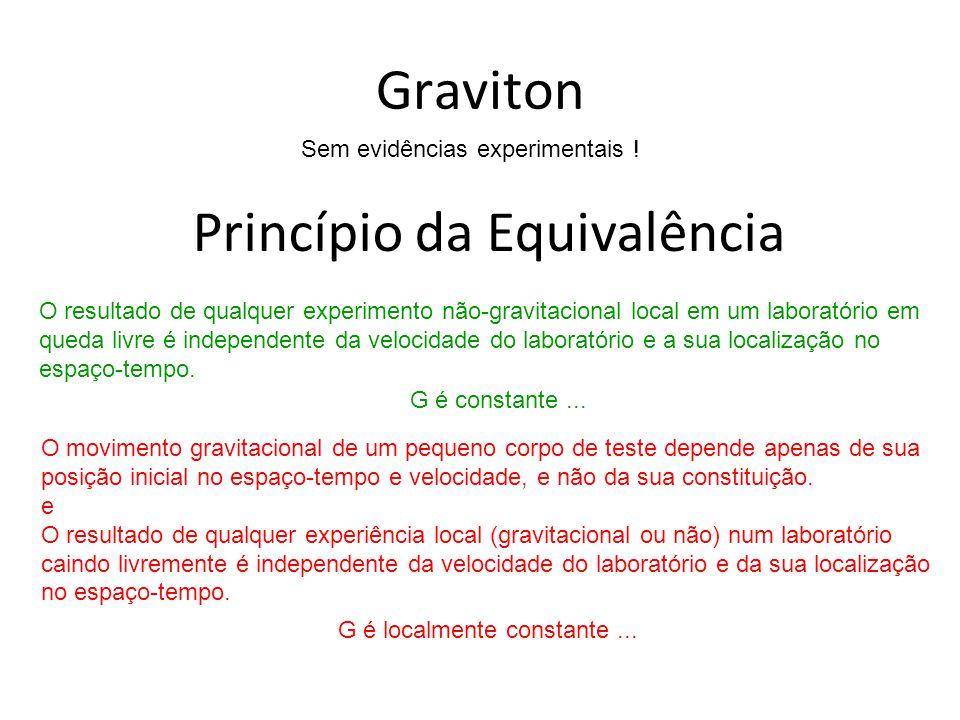 Graviton Sem evidências experimentais ! Princípio da Equivalência O resultado de qualquer experimento não-gravitacional local em um laboratório em que