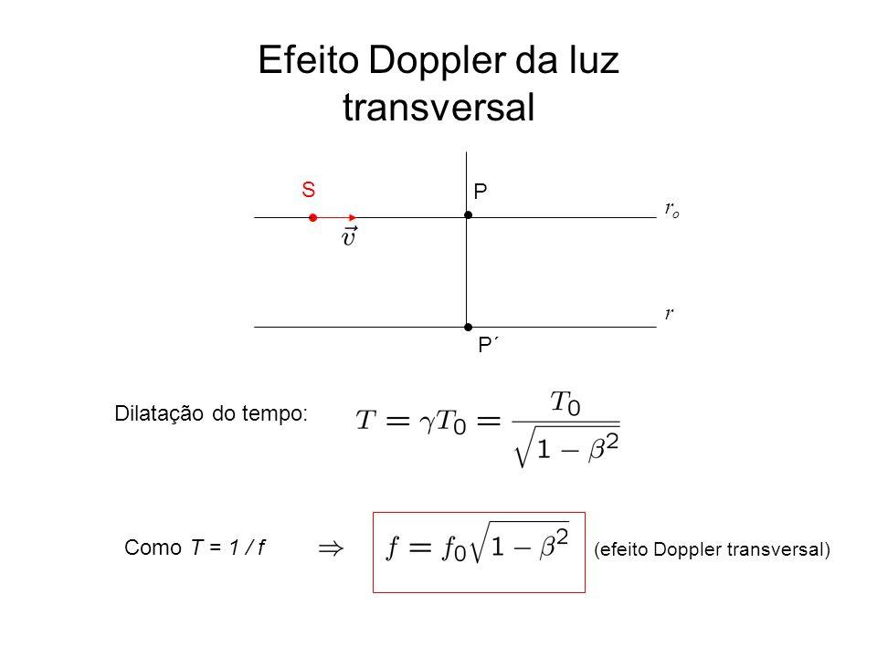 Efeito Doppler da luz transversal (efeito Doppler transversal) Dilatação do tempo: Como T = 1 / f P´ P S roro r