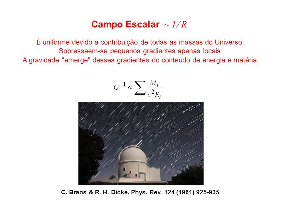 Campo Escalar ~ 1 R É uniforme devido a contribuição de todas as massas do Universo Sobressaem-se pequenos gradientes apenas locais. A gravidade