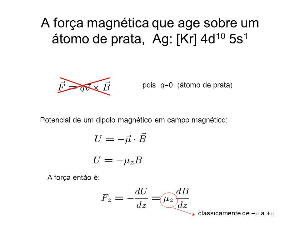A força magnética que age sobre um átomo de prata, Ag: [Kr] 4d 10 5s 1 pois q=0 (átomo de prata) Potencial de um dipolo magnético em campo magnético: