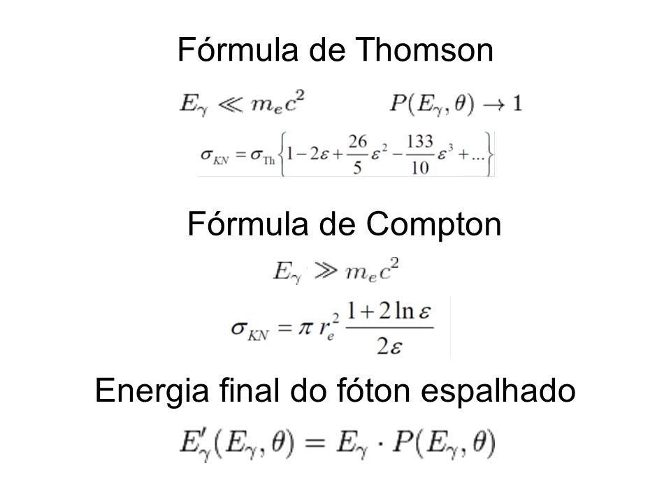 Fórmula de Thomson Energia final do fóton espalhado Fórmula de Compton
