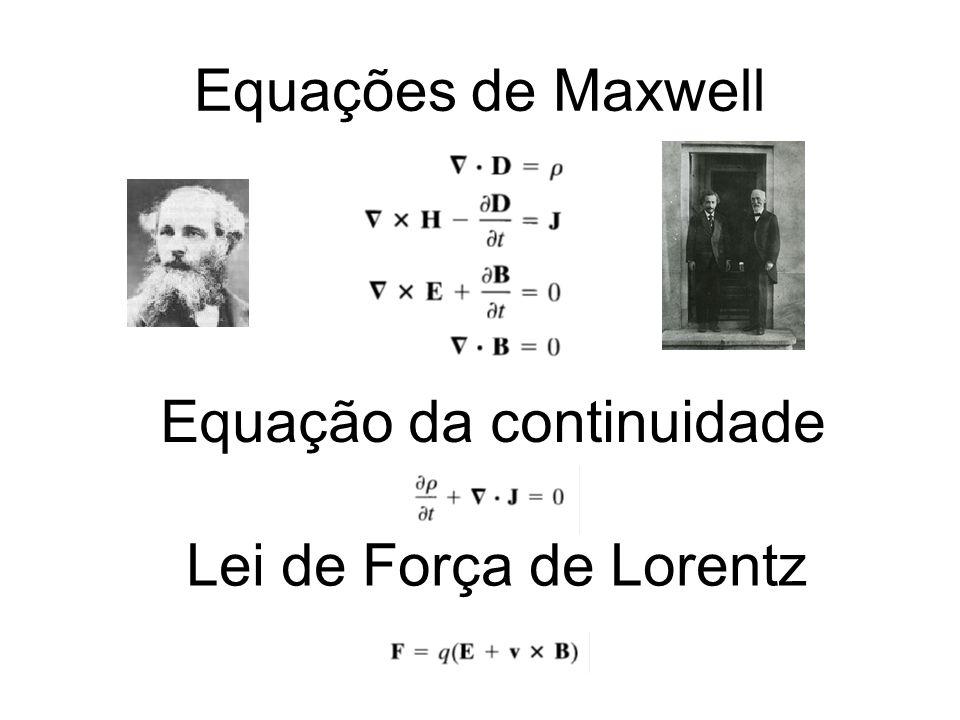 Equações de Maxwell Equação da continuidade Lei de Força de Lorentz