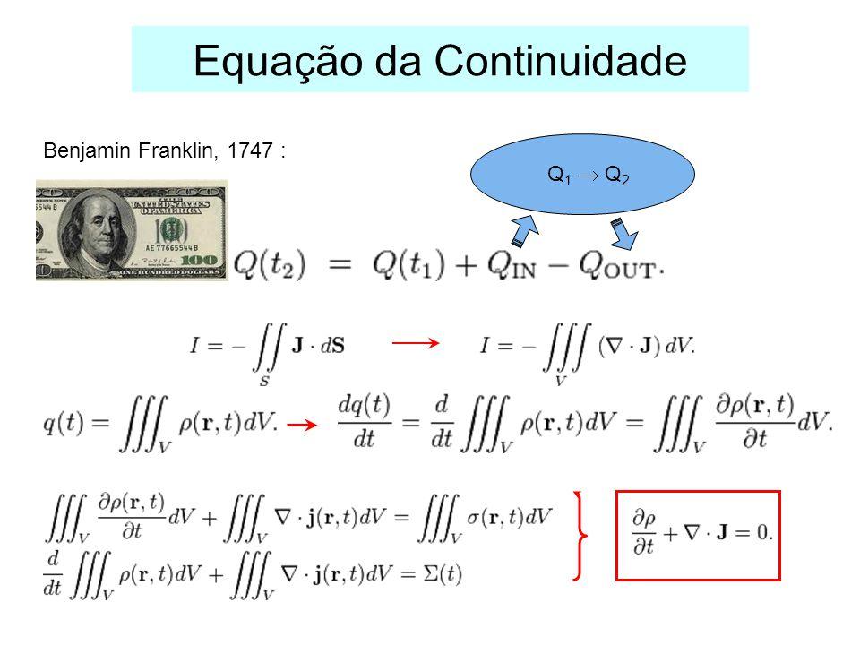 Equação da Continuidade Benjamin Franklin, 1747 : Q 1 Q 2