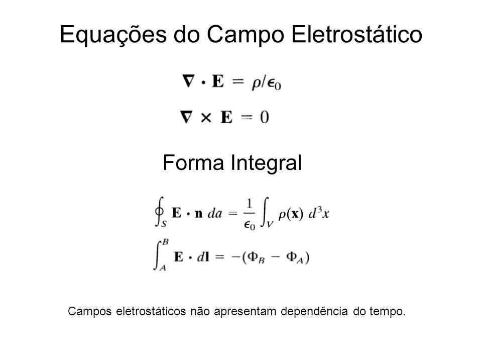 Equações do Campo Eletrostático Campos eletrostáticos não apresentam dependência do tempo.