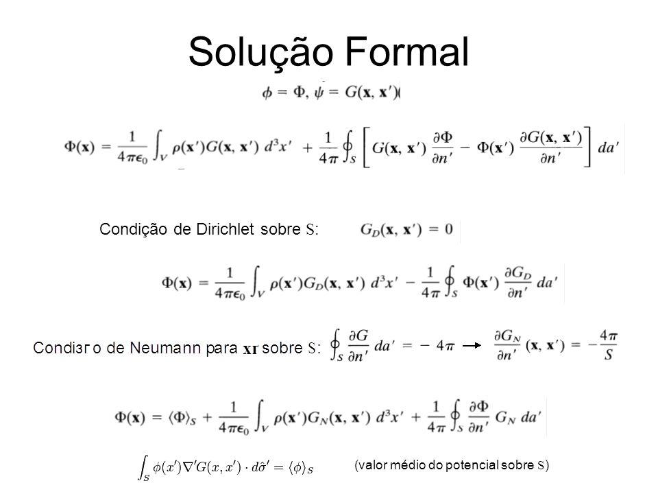 Solução Formal Condição de Dirichlet sobre S : (valor médio do potencial sobre S )