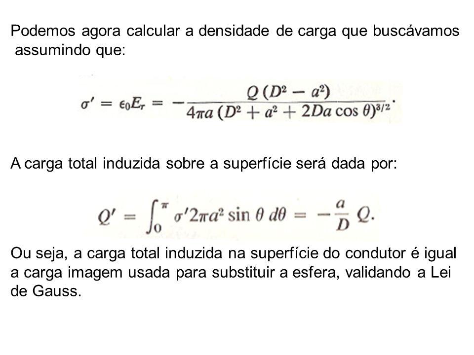 Podemos agora calcular a densidade de carga que buscávamos assumindo que: A carga total induzida sobre a superfície será dada por: Ou seja, a carga total induzida na superfície do condutor é igual a carga imagem usada para substituir a esfera, validando a Lei de Gauss.