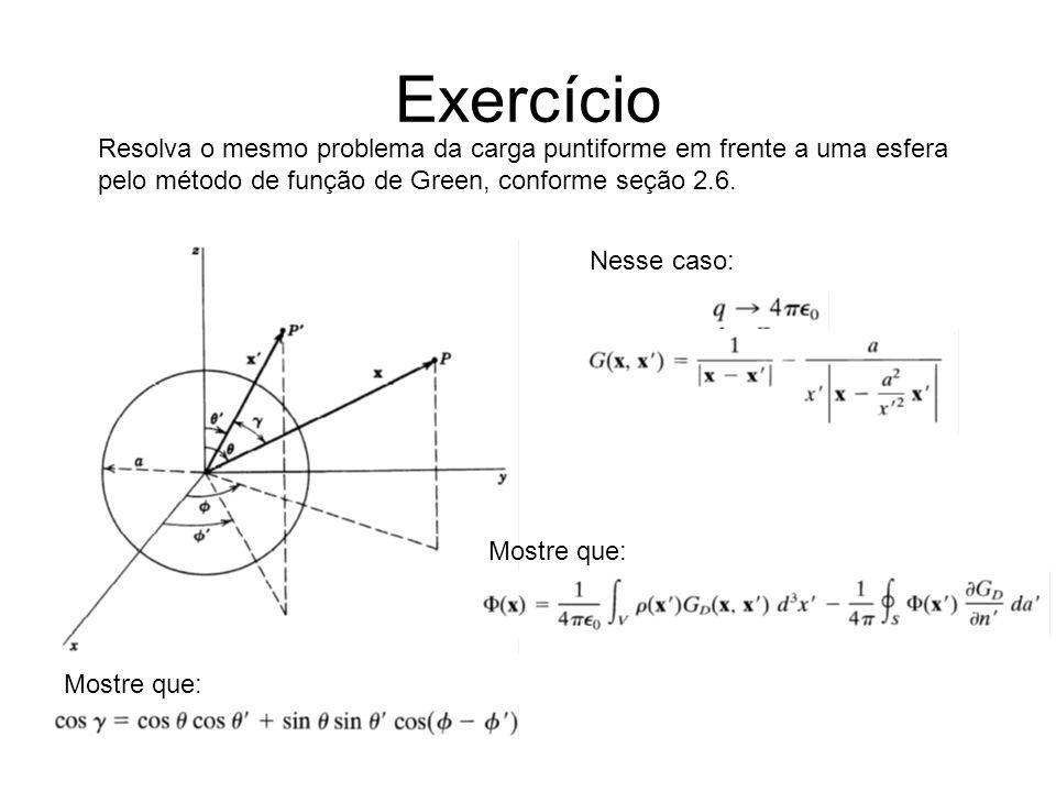 Exercício Resolva o mesmo problema da carga puntiforme em frente a uma esfera pelo método de função de Green, conforme seção 2.6.