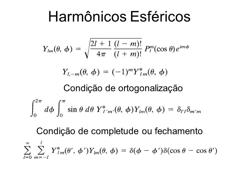 Harmônicos Esféricos Condição de ortogonalização Condição de completude ou fechamento