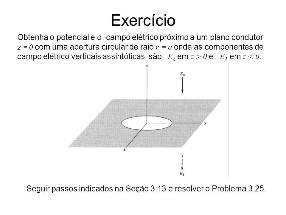 Obtenha o potencial e o campo elétrico próximo a um plano condutor z = 0 com uma abertura circular de raio r = a onde as componentes de campo elétrico verticais assintóticas são E o em z > 0 e E 1 em z < 0.