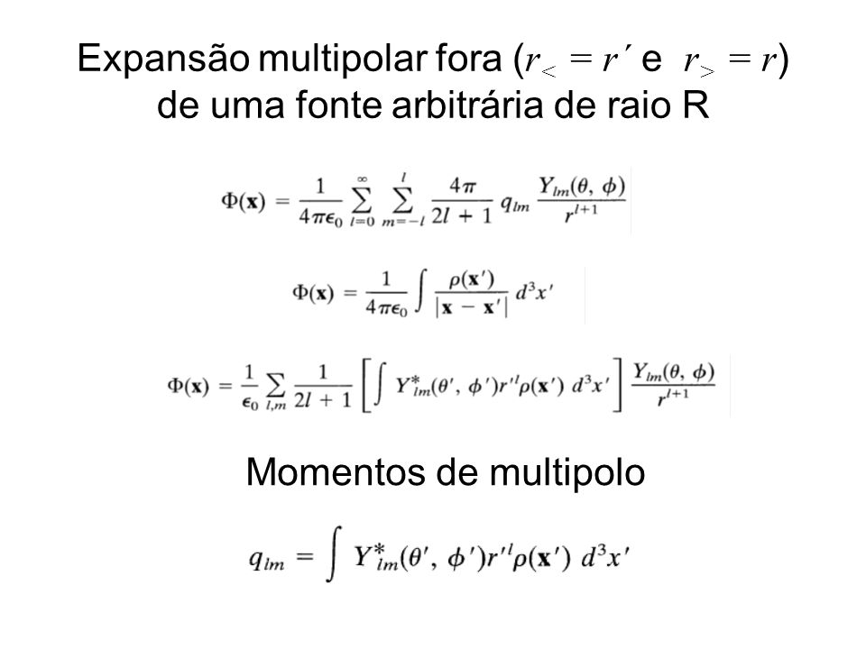 Expansão multipolar fora ( r = r ) de uma fonte arbitrária de raio R Momentos de multipolo