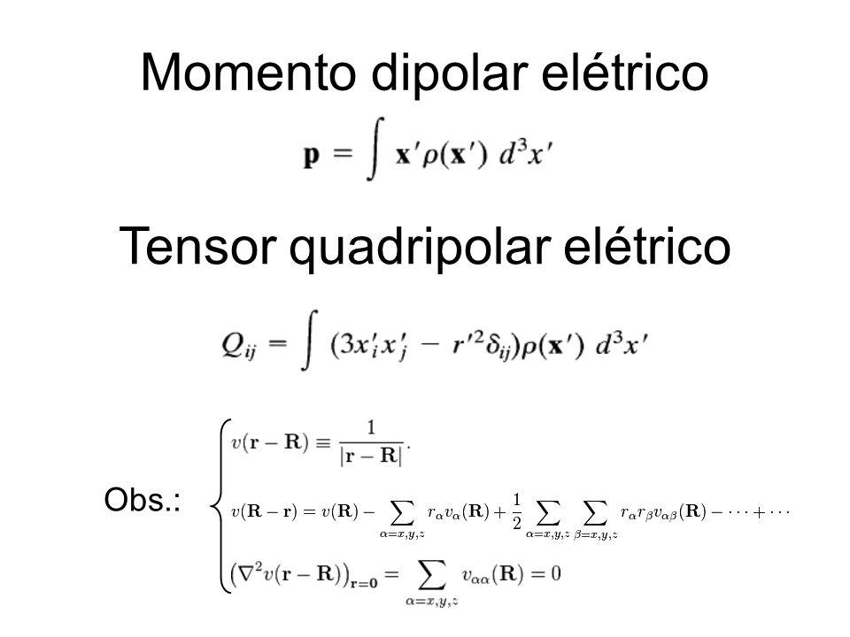Tensor quadripolar elétrico Momento dipolar elétrico Obs.:
