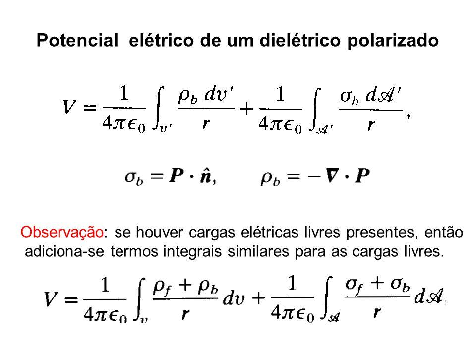 Potencial elétrico de um dielétrico polarizado Observação: se houver cargas elétricas livres presentes, então adiciona-se termos integrais similares para as cargas livres.