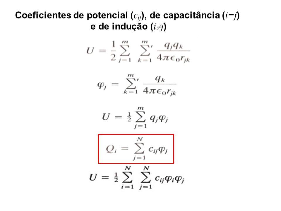 Coeficientes de potencial ( c ij ), de capacitância ( i=j ) e de indução ( i j )