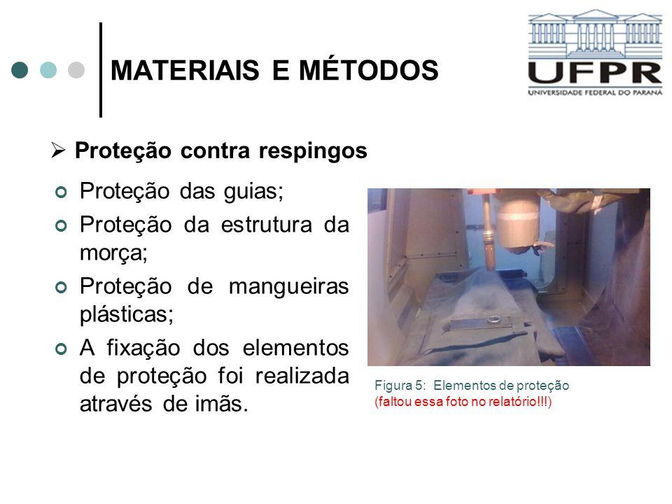 MATERIAIS E MÉTODOS Proteção das guias; Proteção da estrutura da morça; Proteção de mangueiras plásticas; A fixação dos elementos de proteção foi real