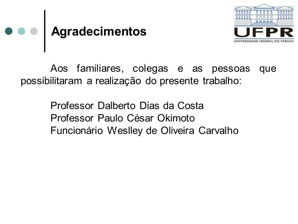 Agradecimentos Aos familiares, colegas e as pessoas que possibilitaram a realização do presente trabalho: Professor Dalberto Dias da Costa Professor P