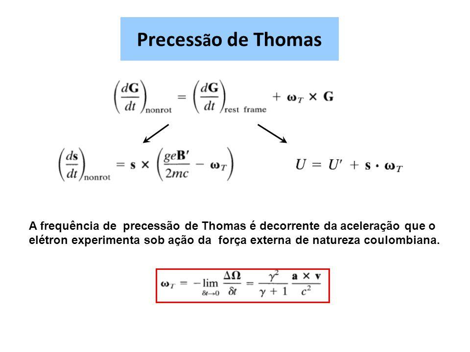 Precess ã o de Thomas A frequência de precessão de Thomas é decorrente da aceleração que o elétron experimenta sob ação da força externa de natureza c